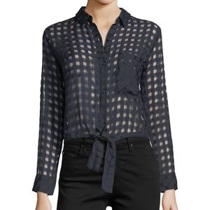 Rails Kelsey Crop Tie Shadow Check Top Small